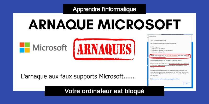 Arnaque Microsoft - Votre ordinateur est bloqué